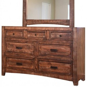 Rustic 7 Drawer Dresser with Microfiber Lined Top Drawers