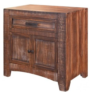 Rustic 1 Drawer Solid Wood Nightstand with Microfiber Lined Drawer
