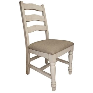 Relaxed Vintage Solid Wood Chair with Fabric Seat