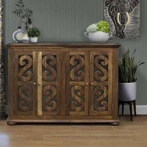 Relaxed Vintage Solid Wood 4-Door Console