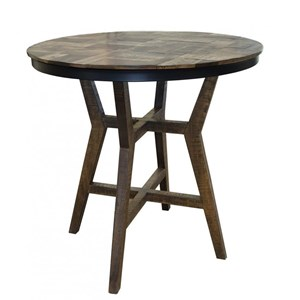 Rustic Bistro Table with Wooden Base