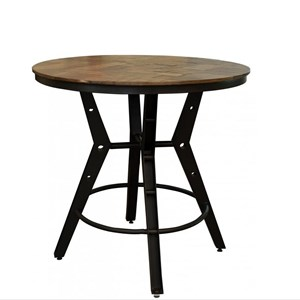 Industrial Bistro Table with Iron Base