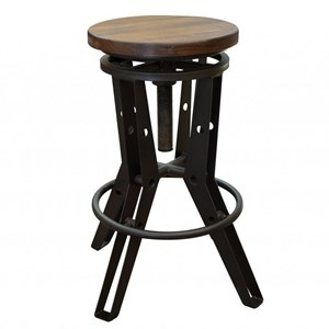 Industrial Adjustable Height Iron Stool with Wooden Seat