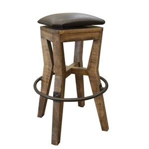 "Rustic 30"" Wooden Stool with Faux Leather Seat"