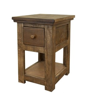 Rustic Chair Side Table with 1 Drawer