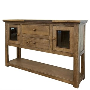 Rustic Sofa Table with 2 Drawers and 2 Glass Doors