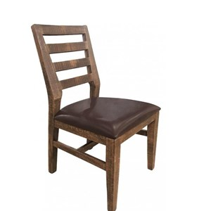 Rustic Solid Wood Side Chair with Fabric Seat