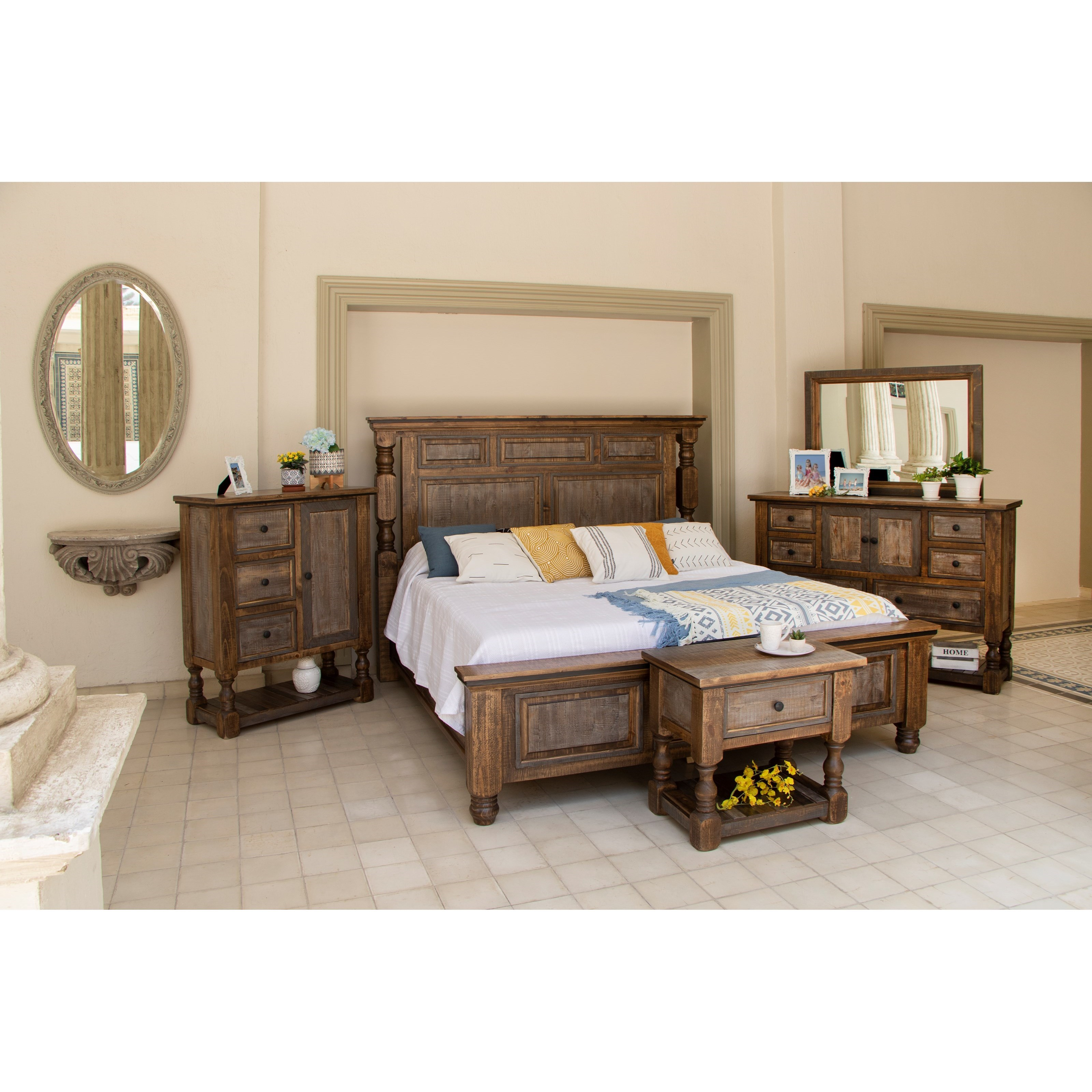 Stone Brown King Bedroom Group by International Furniture Direct at Zak's Home