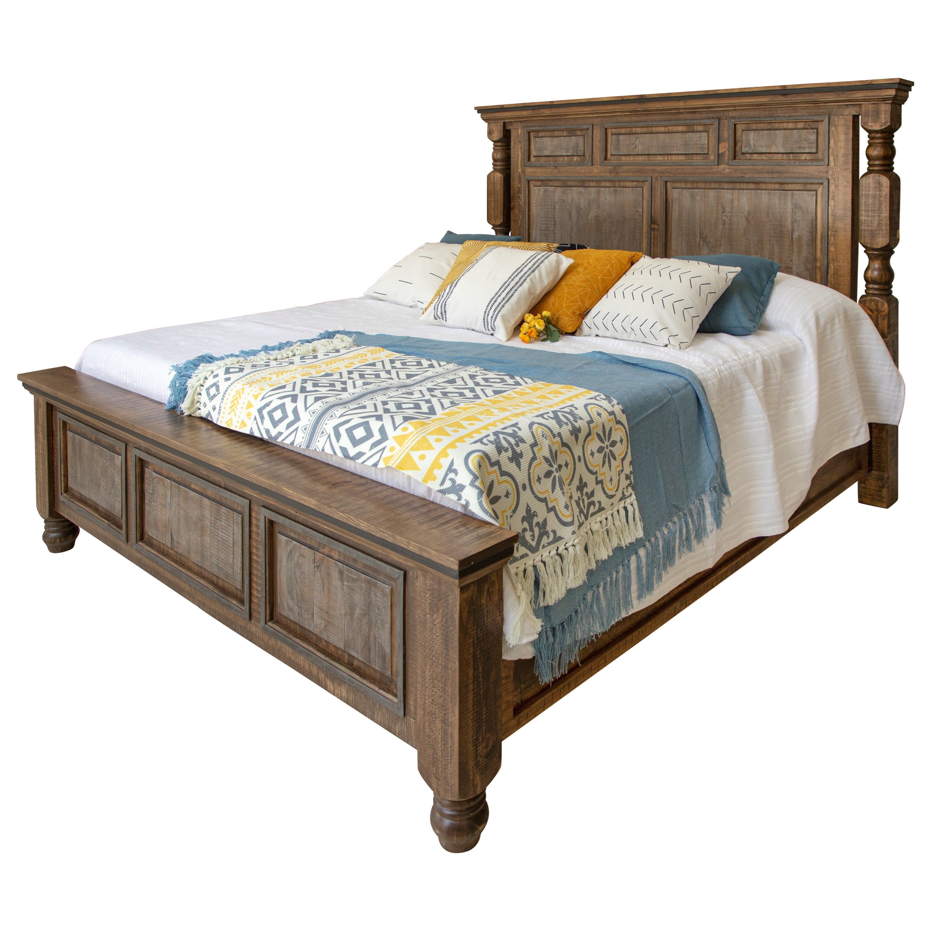 Stone Brown King Bed by International Furniture Direct at Zak's Home
