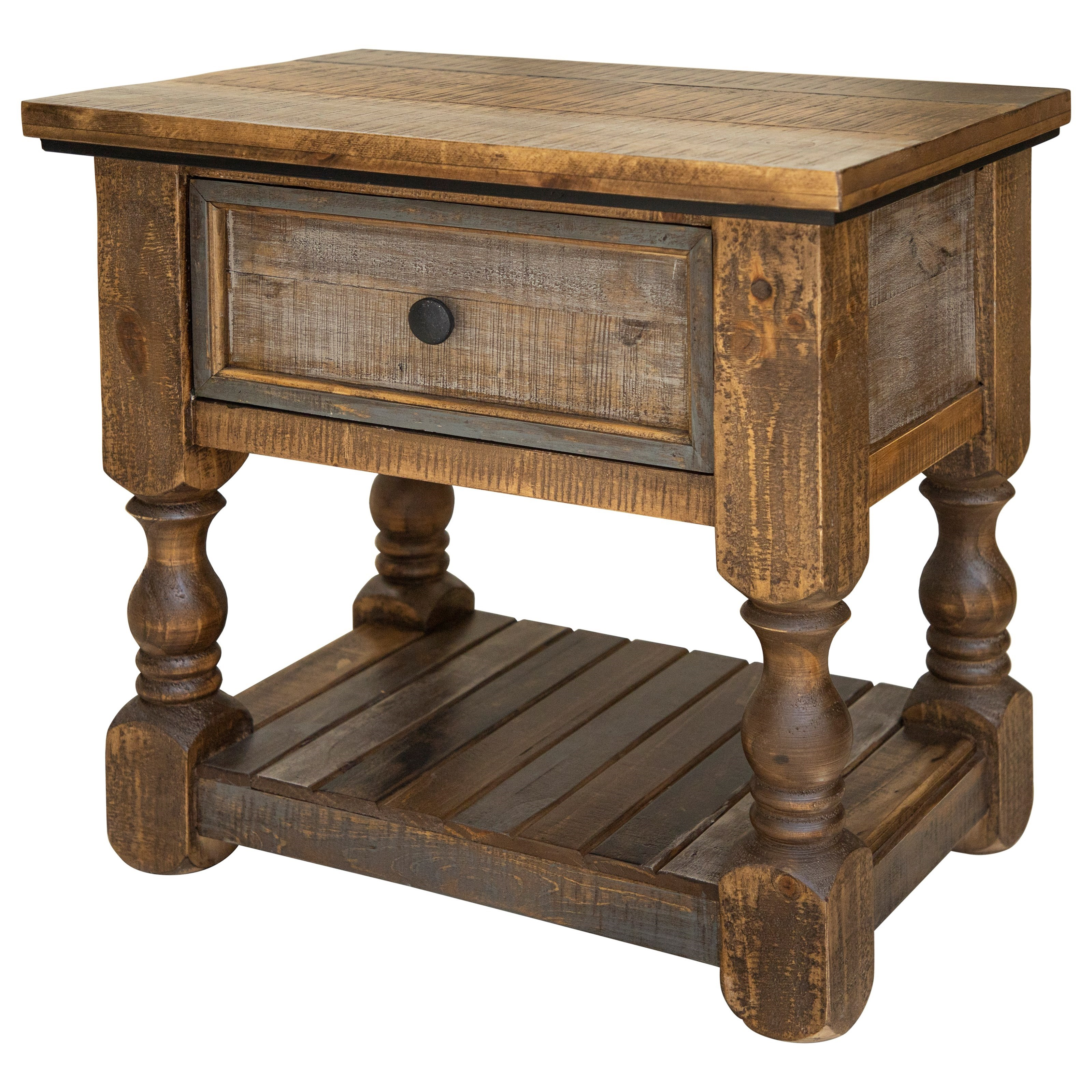 Stone Brown Nightstand by International Furniture Direct at Zak's Home