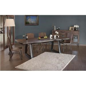 7 Piece Live Edge Dining Room Table with Solid Wood Top and 8 Solid Wood Side Chairs with Metal Base Set