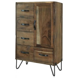 Rustic Chest with Five Drawers and One Door