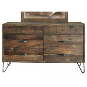 Rustic Six Drawer Dresser with Hairpin Legs