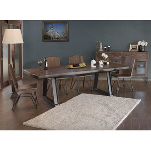 Rustic 5 Piece Dining Set with Live Edge Table