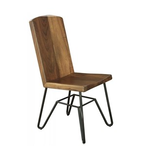 Contemporary Solid Wood Parota Chair with Iron Base