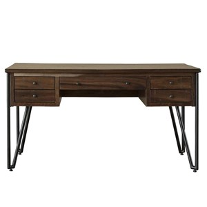Rustic 5 Drawer Desk with Metal Legs
