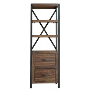 Rustic Pier Bookcase with Iron Frame
