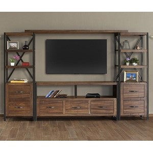 Rustic Entertainment Wall Unit with Distressed Finish