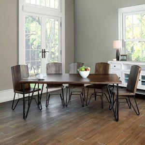 Rustic Dining Table with Hairpin Legs