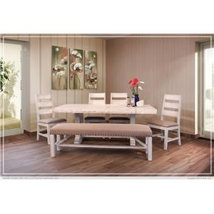 7 Piece Rectangular Solid Wood Table and 6 Slat Back Side Chairs with Upholstered Seat Set