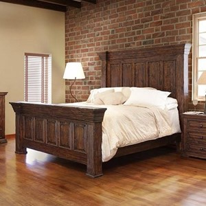 Oversized Queen Panel Bed with Distressed Finish
