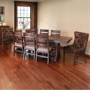 Double Pedestal Dining Table and 8 Dining Chair Set