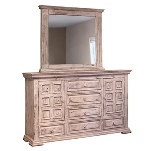 Dresser and Mirror Set with Distressed Finish