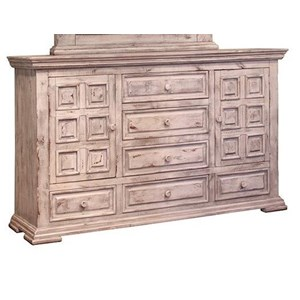 Rustic Dresser with Six Drawers and Two Doors