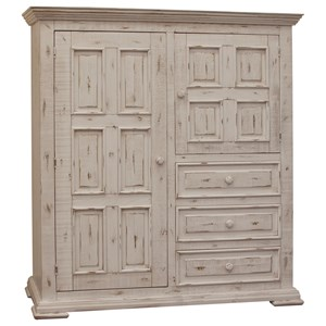 Solid Wood Gentleman's Chest with 2 Doors and 3 Drawers