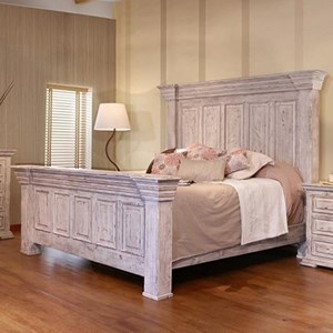 Oversized King Panel Bed with Distressed Finish