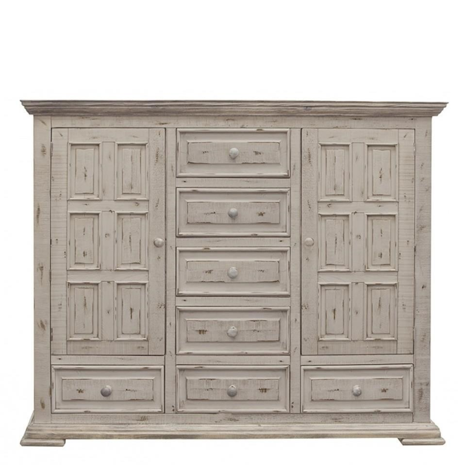 Terra White 7 Drawer, 2 Door Mule Chest by International Furniture Direct at Miller Waldrop Furniture and Decor