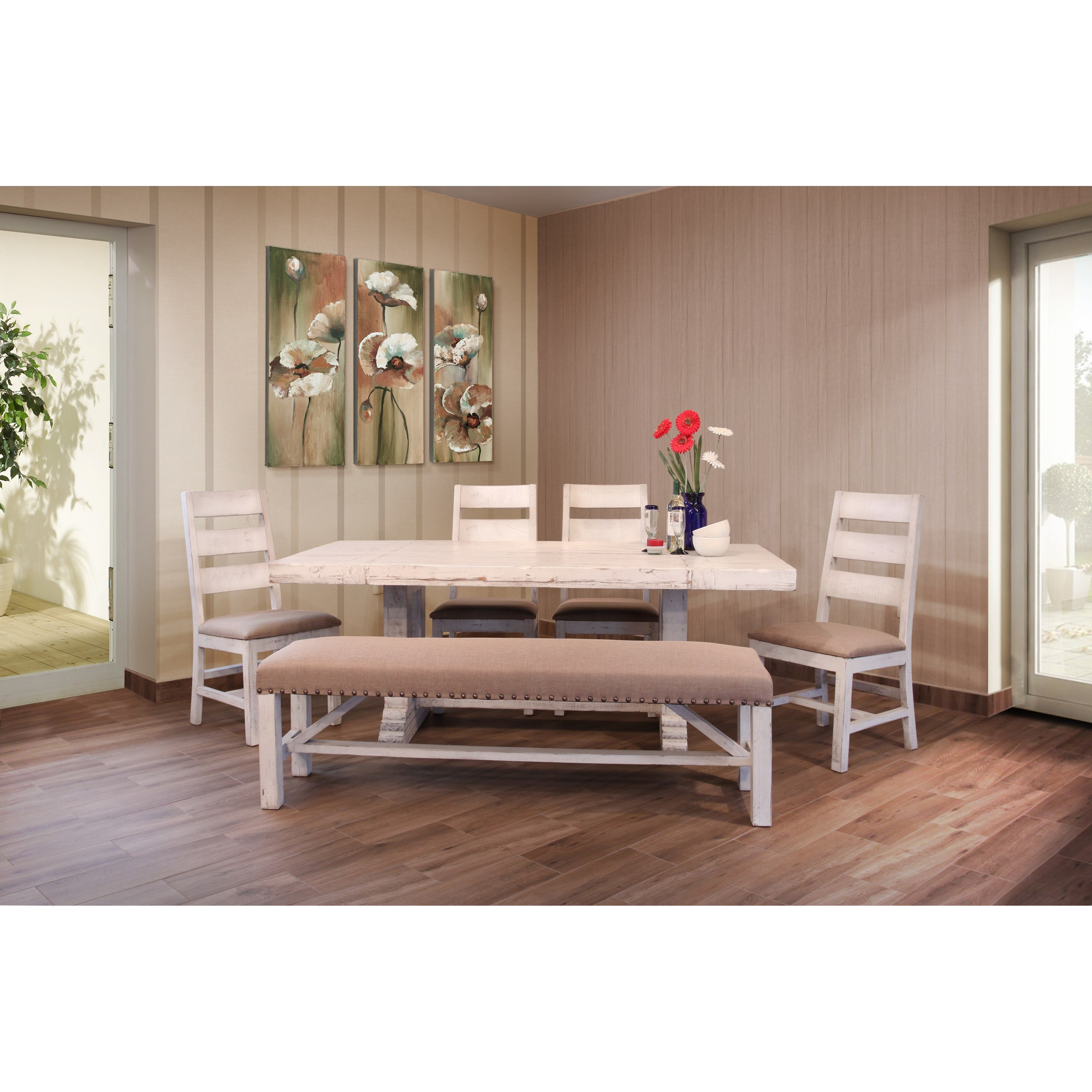 Terra White Table and Chair and Bench Set by International Furniture Direct at Zak's Home