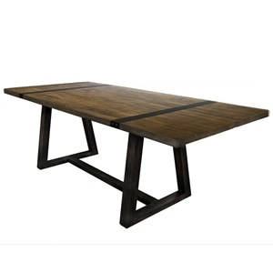 Contemporary Two-Toned Trestle Dining Table