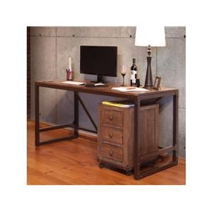 Writing Desk with Iron Base and 70 inch Bookacase Set