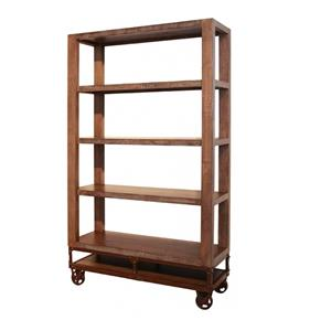 70 Inch Bookcase with 4 Shelves and Casters