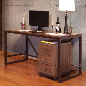 Writing Desk with Wood Top and Iron Base