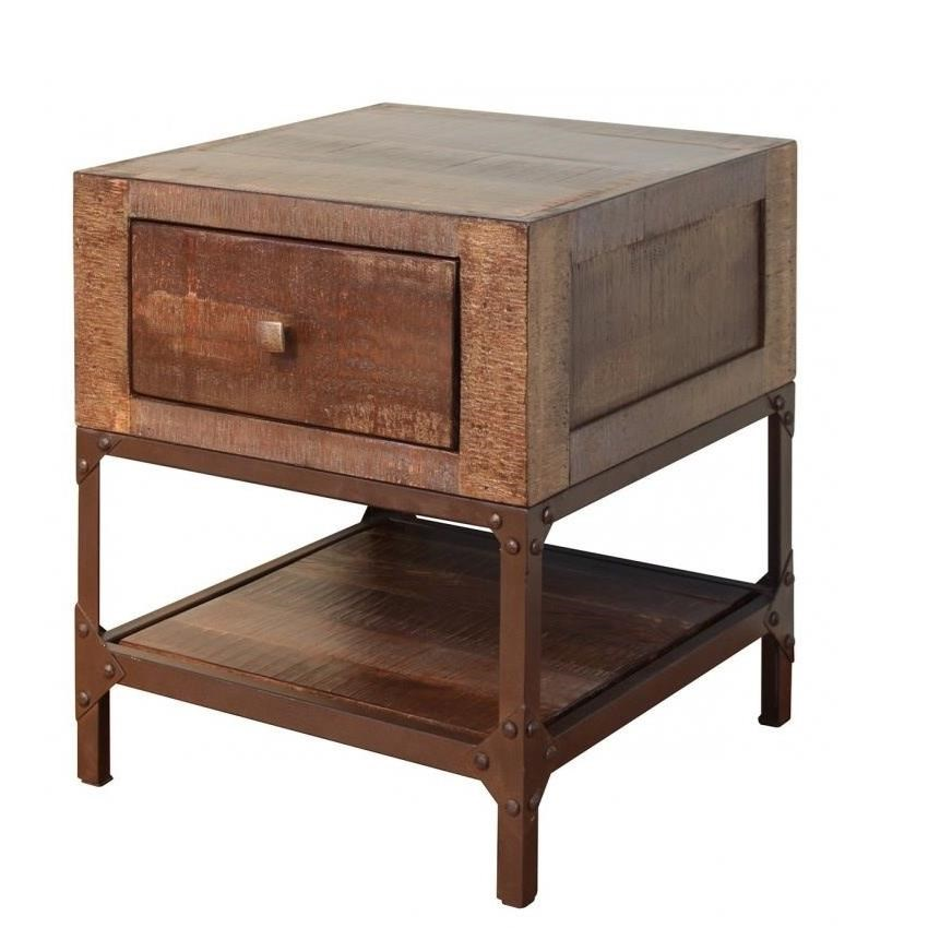 Urban Gold End Table with 1 Drawer by International Furniture Direct at Zak's Home