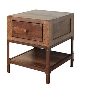 Rustic Contemporary End Table with 1 Drawer