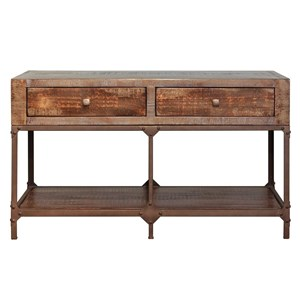 Rustic Contemporary Sofa Table with 2 Drawers