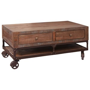 Rustic Cocktail Table with 4 Drawers and Wheels