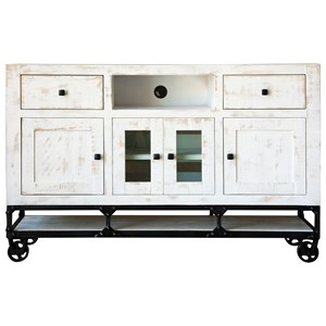 """Vintage White 60"""" TV Stand with Industrial Cast Iron Base"""