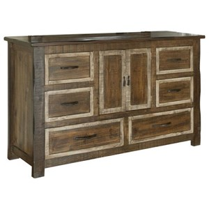 Rustic 6 Drawer, 2 Door Dresser