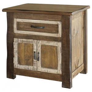 Rustic 1-Drawer, 2-Door Nightstand with Felt Lined Drawer