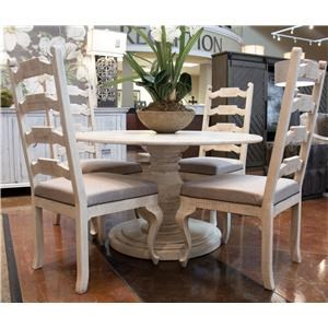 White Round Table and Four Side Chairs