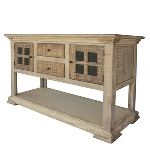 Transitional Sofa Table with 2 Drawers and 2 Doors