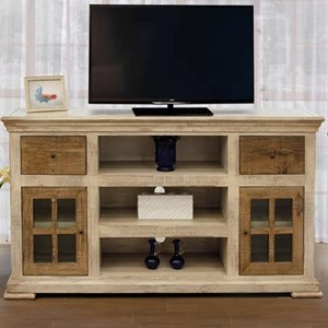 Transitional Solid Wood 2-Drawer and 2-Door TV Stand