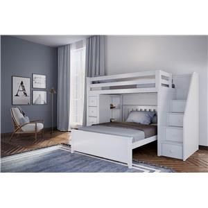 Oxford 1 Twin Staircase High Loft Bed in White w/Dresser and Bookcase w/Full Bed