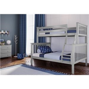 Kent Twin/Full Bunk Bed in Grey w/Angle Ladder