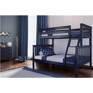 Kent Twin/Full Bunk Bed in Blue w/Angle Ladder