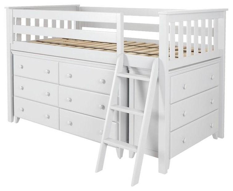 Loft Beds Windsor 1 Low Loft Bed in White by Jackpot Kids at Belfort Furniture